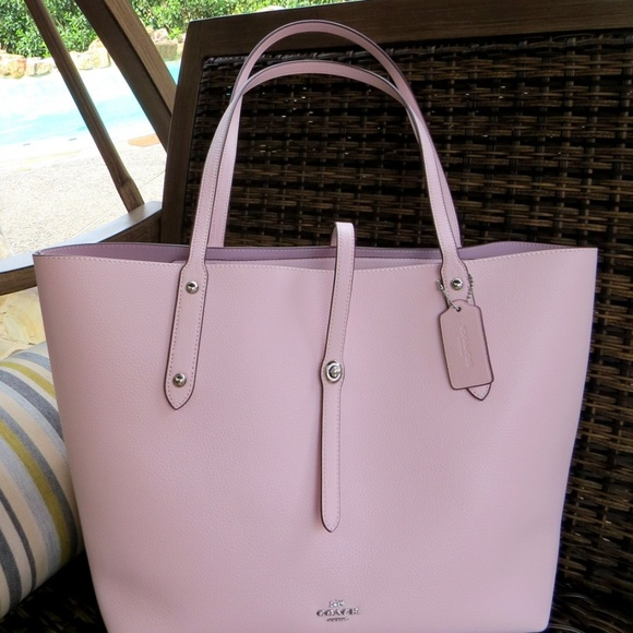 77355b79c7 NWT COACH Market Tote Bag Pebble Leather Ice Pink